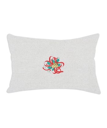Burlap Holly Embroidered Linen-Blend Pillow