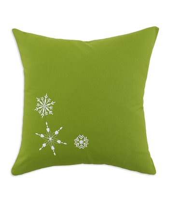 Nile Kiwi Snowflakes Embroidered Pillow