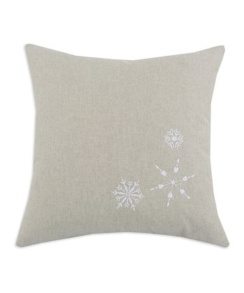Natural Snowflakes Embroidered Linen Pillow