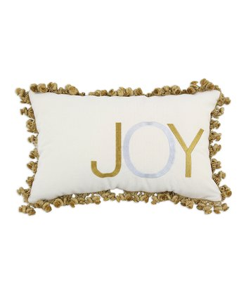 Cream & Gold 'Joy' Hondo Fringe Throw Pillow