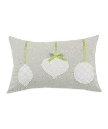Khaki & Green Ornament Linen Throw Pillow