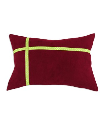 Red & Lime Ribbon Throw Pillow