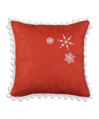 Tomato & White Snowflake Pom-Pom Throw Pillow