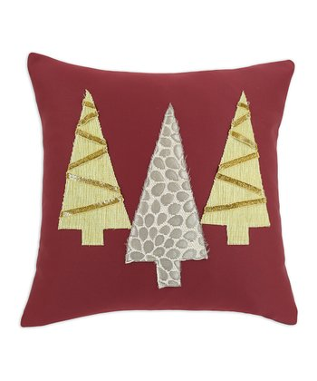 Burgundy & Green Tree Throw Pillow