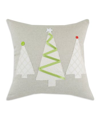 Khaki Ribbon Tree Linen Throw Pillow