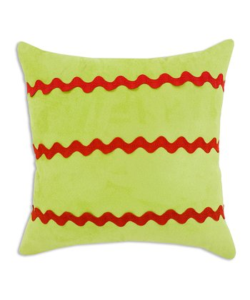 Lime & Red Rickrack Stripe Throw Pillow