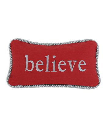 Red 'Believe' Nile Poppy Throw Pillow