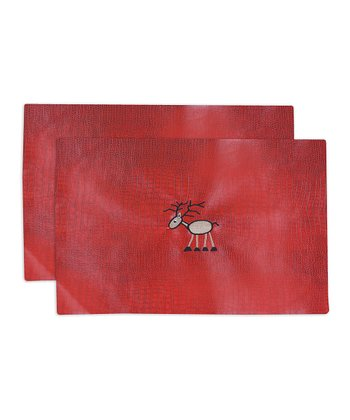 Red & Brown Tinga Rojo Reindeer Place Mat - Set of Two