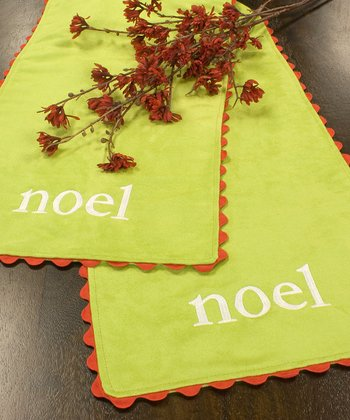Lime 'Noel' Rickrack Table Runner