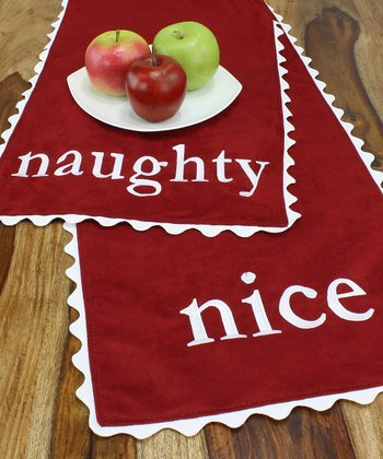 Red & White 'Naughty' & 'Nice' Table Runner