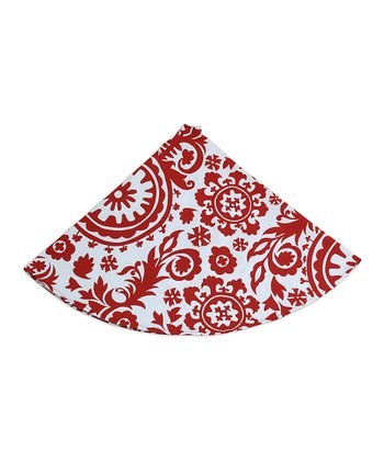 Red & White Suzani Tree Skirt