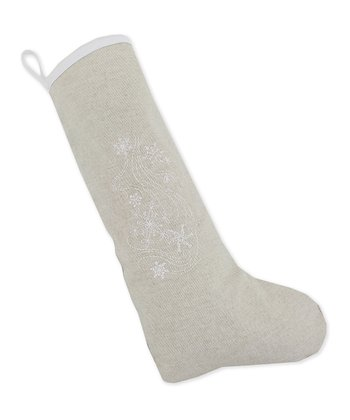 Khaki Swirl Snowflake Bias Trim Linen Stocking