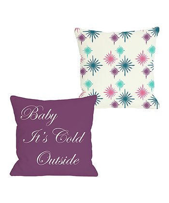 Ivory & Teal 'Baby It's Cold Outside' Reversible Throw Pillow