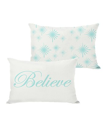 Ivory & Ice Blue 'Believe' Reversible Throw Pillow