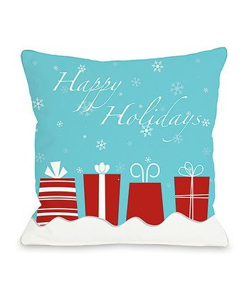 Blue & Red 'Happy Holidays' Presents Throw Pillow