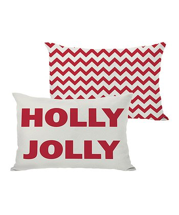 Ivory & Red 'Holly Jolly' Reversible Throw Pillow