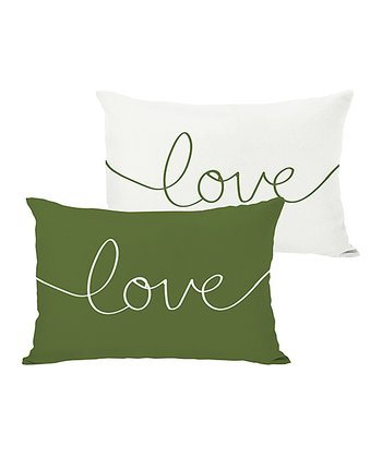 Ivory & Green 'Love' Mix & Match Throw Pillow