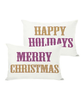 Ivory 'Merry Christmas' & 'Happy Holidays' Reversible Pillow