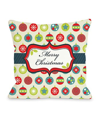 'Merry Christmas' Ornament Throw Pillow