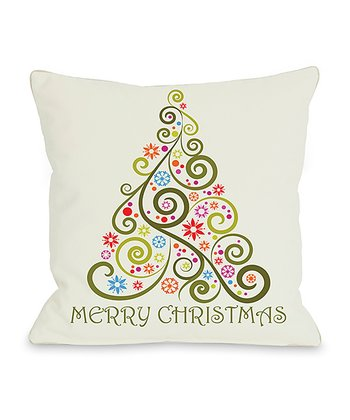'Merry Christmas' Whimsical Tree Throw Pillow