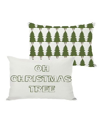 Ivory & Green 'Oh Christmas Tree' Reversible Throw Pillow