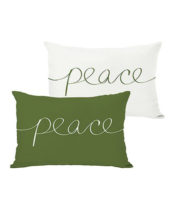 Ivory & Green 'Peace' Mix & Match Throw Pillow