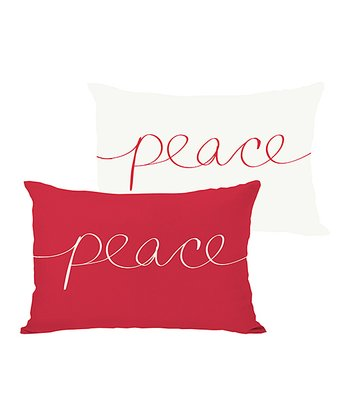 Ivory & Red 'Peace' Mix & Match Throw Pillow