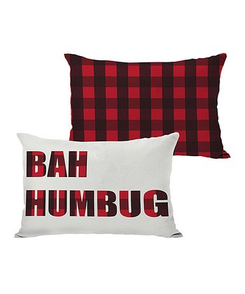 Ivory & Red 'Bah Humbug' Reversible Throw Pillow
