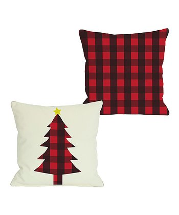 Ivory & Red Plaid Christmas Tree Reversible Throw Pillow
