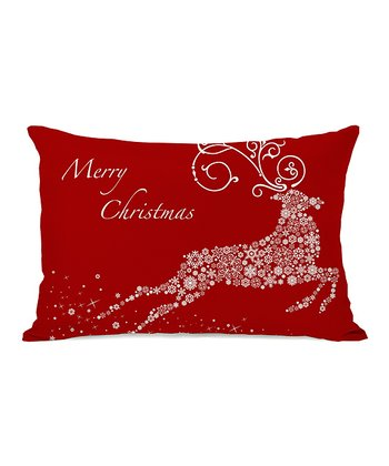 Red Snowflake Reindeer Throw Pillow