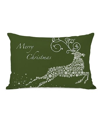 Green Snowflake Reindeer Throw Pillow