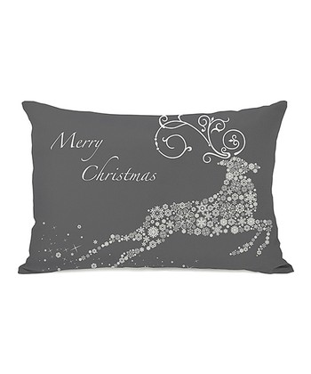 Gray Snowflake Reindeer Throw Pillow