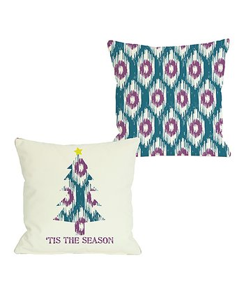 Ivory & Teal 'Tis the Season' Ikat Tree Reversible Throw Pillow