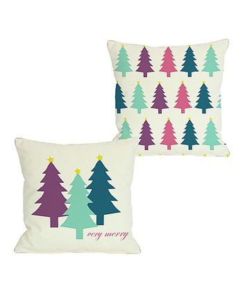 Ivory & Teal 'Very Merry' Christmas Trees Reversible Throw Pillow