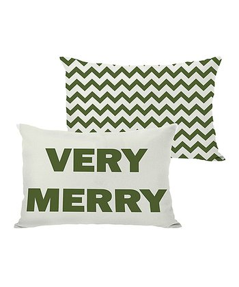 Ivory & Green 'Very Merry' Reversible Throw Pillow