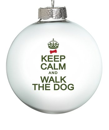 White 'Walk the Dog' Ornament - Set of Two