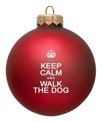 Red 'Walk the Dog' Ornament - Set of Two
