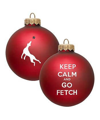 Red 'Go Fetch' Ornament - Set of Two