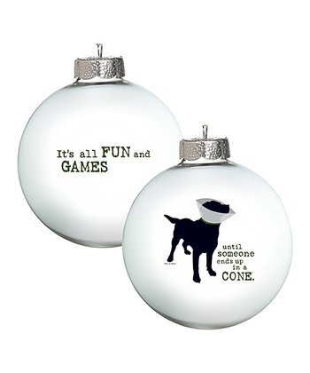 White 'All Fun & Games' Ornament - Set of Two
