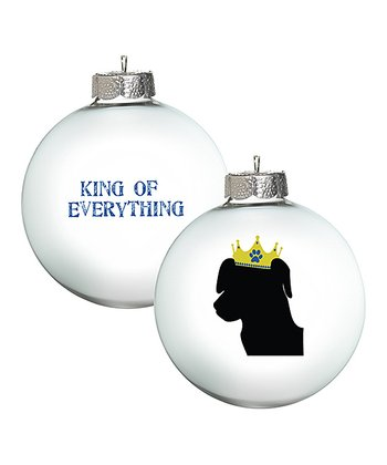 White 'King of Everything' Lab Ornament - Set of Two