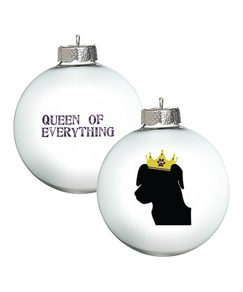 White 'Queen of Everything' Lab Ornament - Set of Two