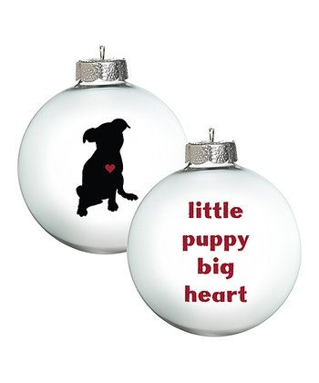 White 'Little Puppy, Big Heart' Ornament - Set of Two