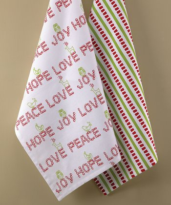 'Peace Love Joy' Kitchen Towel - Set of Two