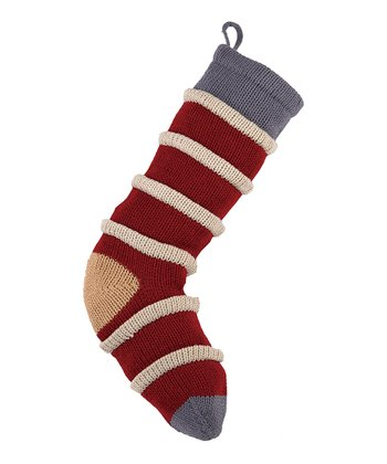 Red & Tan Stripe Knit Stocking