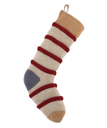 Tan & Red Stripe Knit Stocking