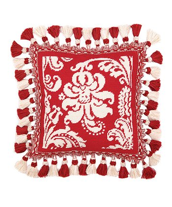 Red & White Damask Throw Pillow