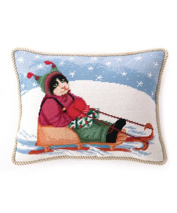 Sled Cat Throw Pillow