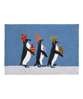 We Three Penguin Kings Wool-Blend Rug