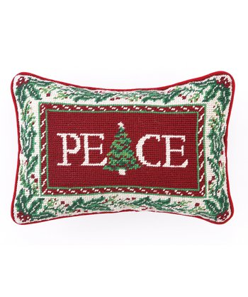 'Peace' Christmas Tree Border Throw Pillow