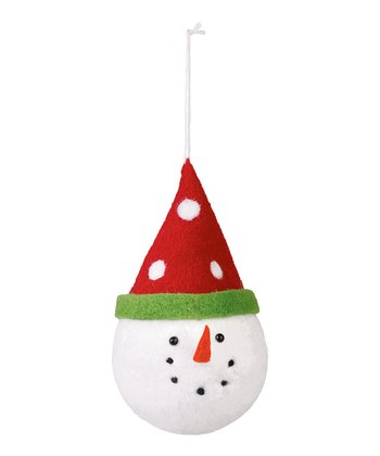 Polka Dot Felt Snowman Ornament